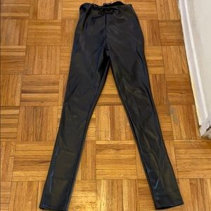 PRETTY LITTLETHING Faux Leather Ruched Bum Legging
